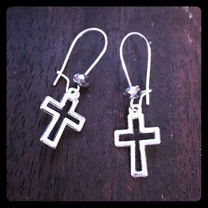 💖✨Silver Beaded Open Cross Earrings✨💖